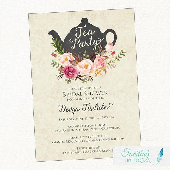Beautiful shabby chic tea party invitation featuring soft romantic beautiful shabby chic tea party invitation featuring soft romantic watercolor flowers and a vintage teapot just the right amount of rustic charm t filmwisefo