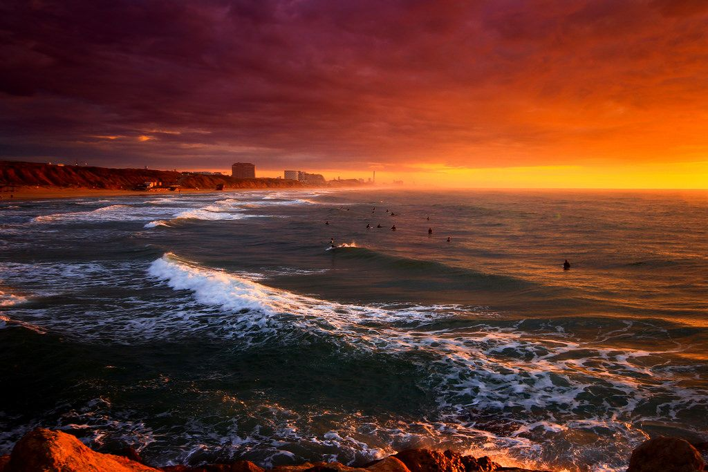 surfers at sunset - Tel-Aviv beach by Lior. L http://flic.kr/p/J3nF6m