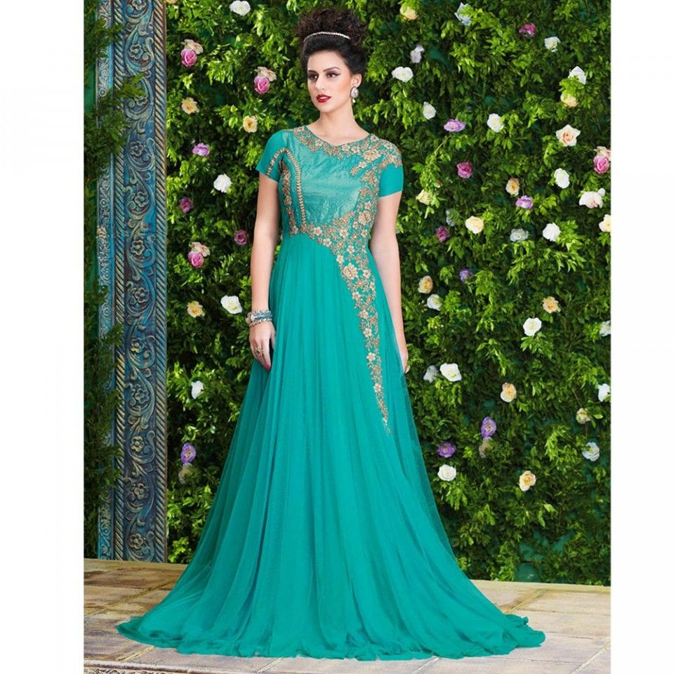 Turquoise party wear gown turquoise wedding colors pinterest
