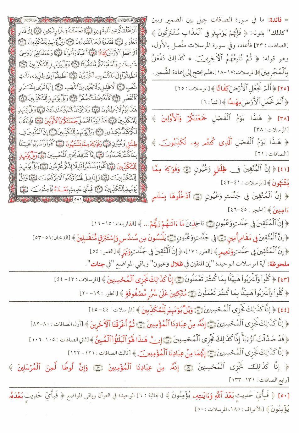 ٢٠ ٥٠ المرسلات مصحف التبيان المفصل لمتشابهات القرآن