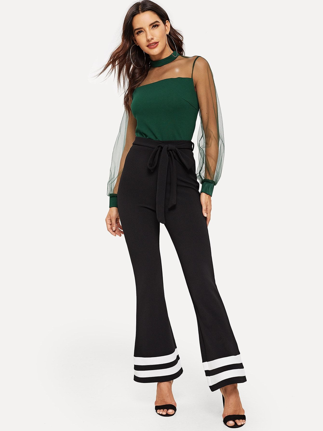 048a45afb3fc Casual and Elegant Belted and Colorblock Patchwork Flare Leg Skinny  Drawstring Waist High Waist Black Long Length Striped Flared Hem Pants With  Belt with ...