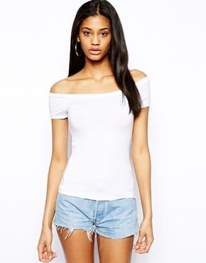 71296bbd6d8d3 ASOS Top with Bardot Neckline and Short Sleeve