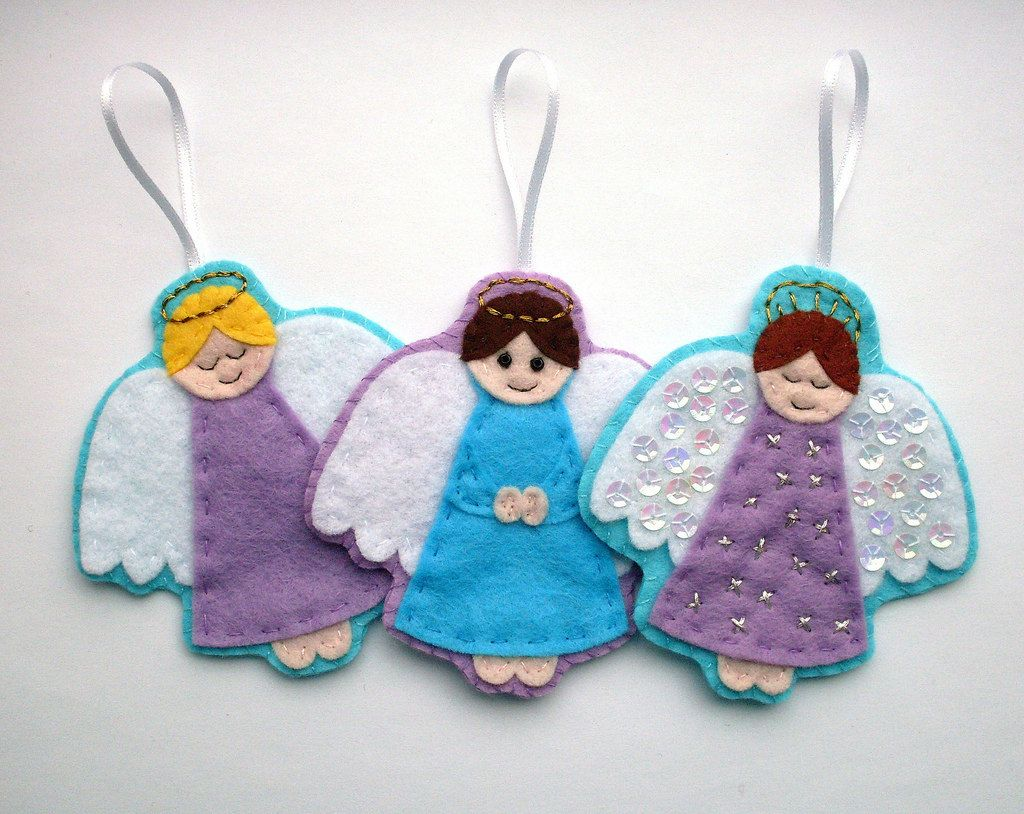 Christmas felt ornaments - Diy Felt Angel Ornaments Pdf Sewing Pattern Christmas Decorations 3 50 Via