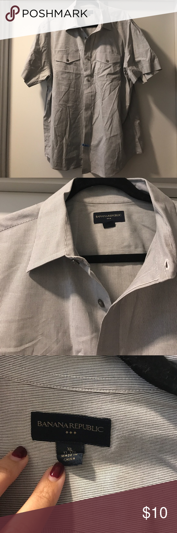 XL Banana Republic Top! Little wrinkly but a great short sleeve Button Up!! In perfect condition! Banana Republic Shirts Casual Button Down Shirts