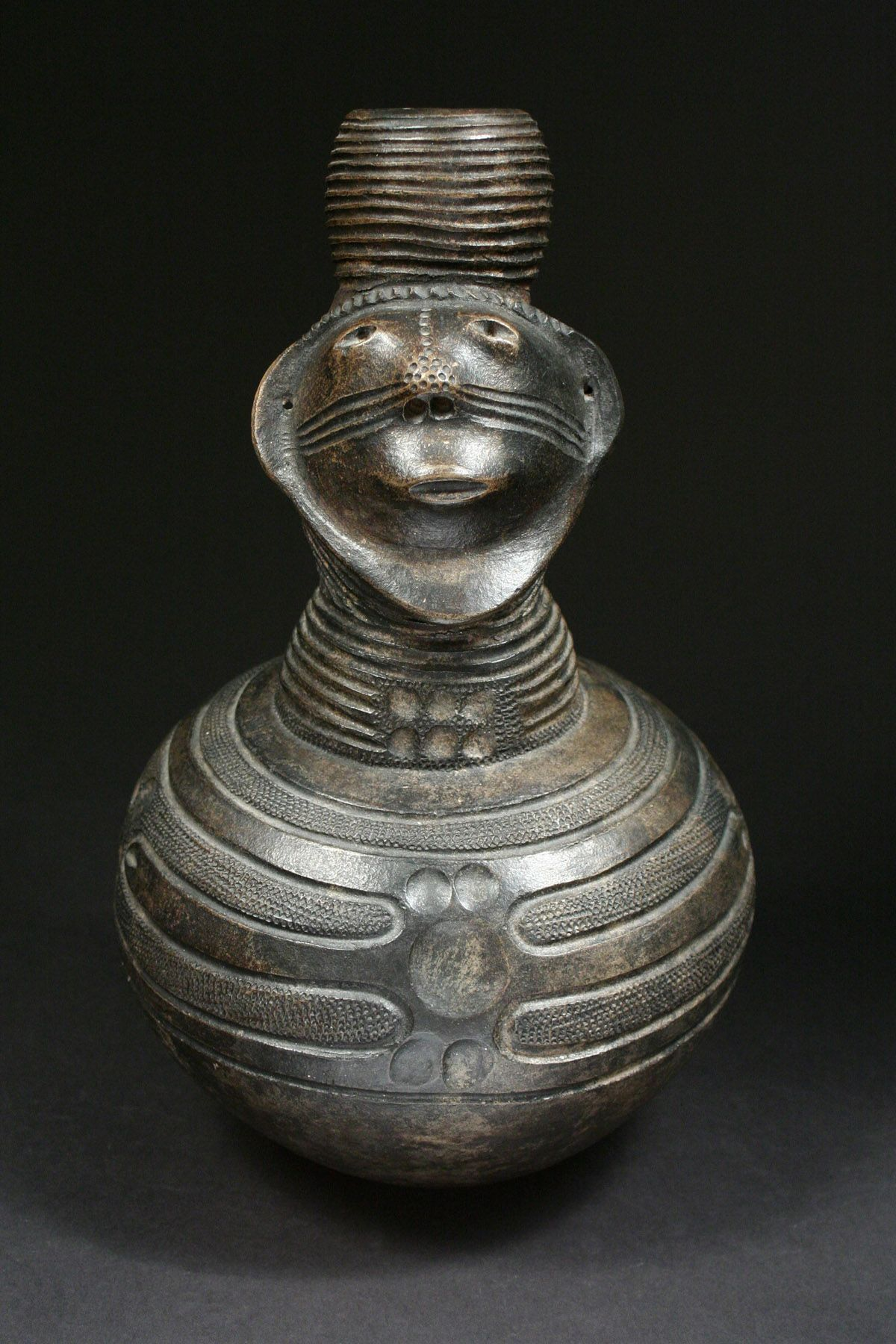 Figural Vessel Zande, D.R. Congo Smudge fired ceramic Early 20th century Robert Dowling