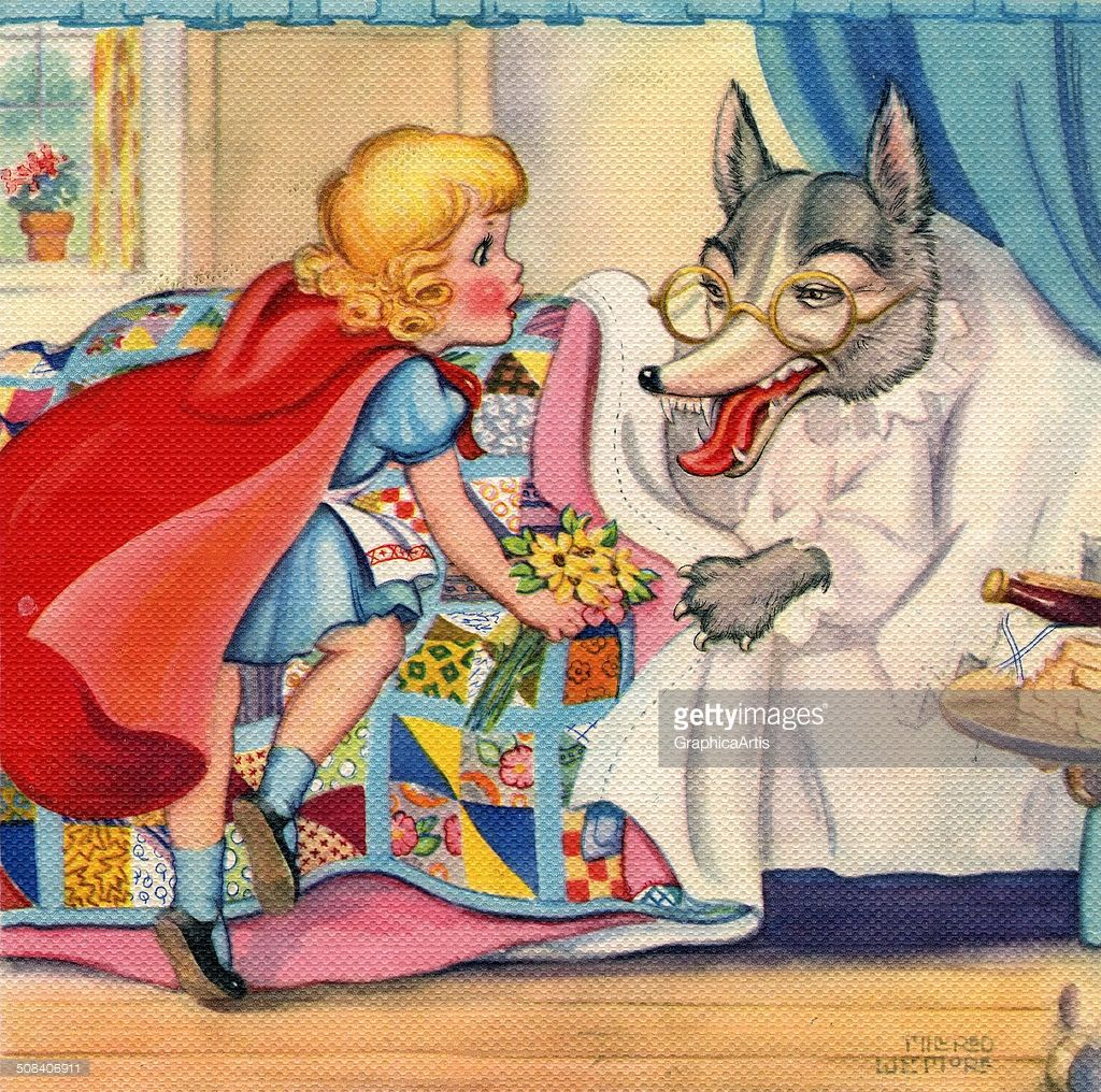 Red riding hood and wolf vintage illustration from the fairy tale little red riding hood depicting riding hood looking at buycottarizona