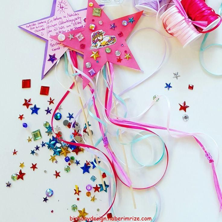 einladungskarte kindergeburtstag. ein feenstab mit einhorn