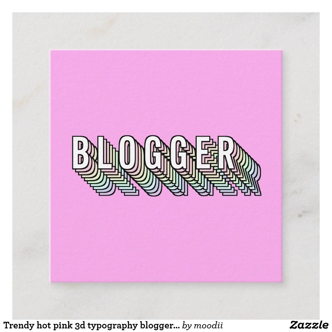 Trendy hot pink 3d typography blogger minimal square business card | Zazzle.com #3dtypography