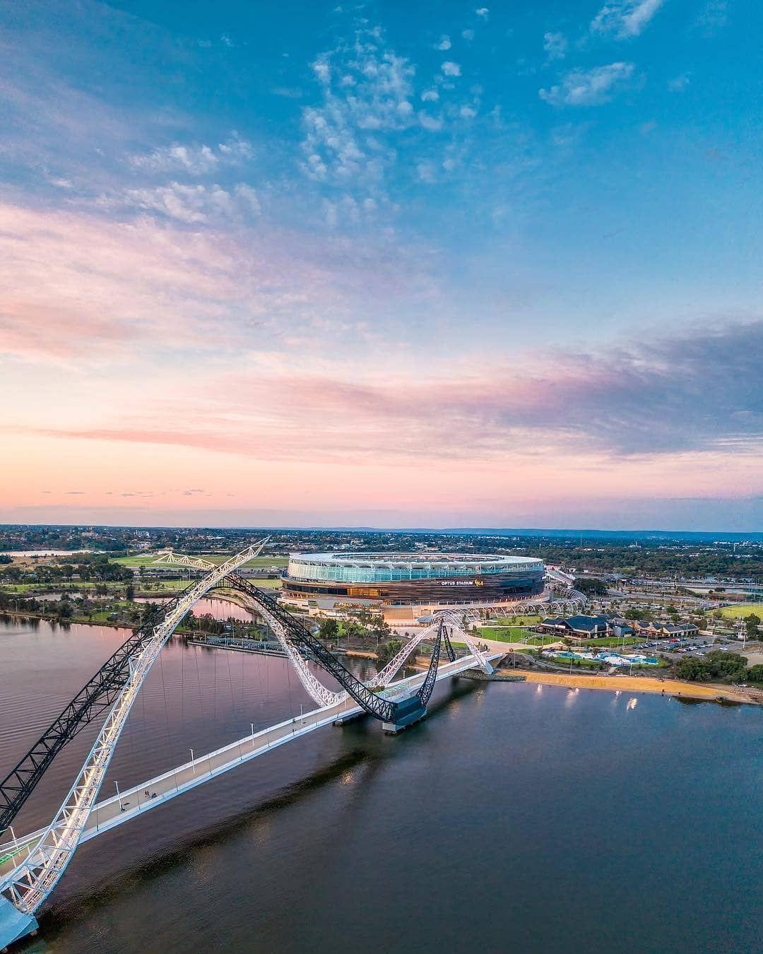 Matagarup Bridge And Optus Stadium Perth Stadium Bridge Instagram