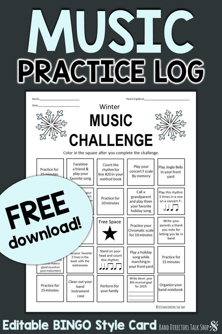 FREE Winter BINGO-style Music Practice Log
