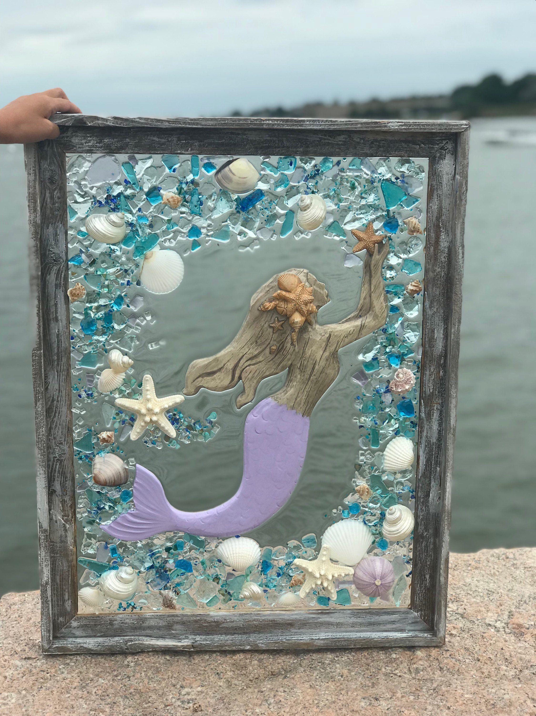 Beach glass mermaid in barnwood frame with shells beach