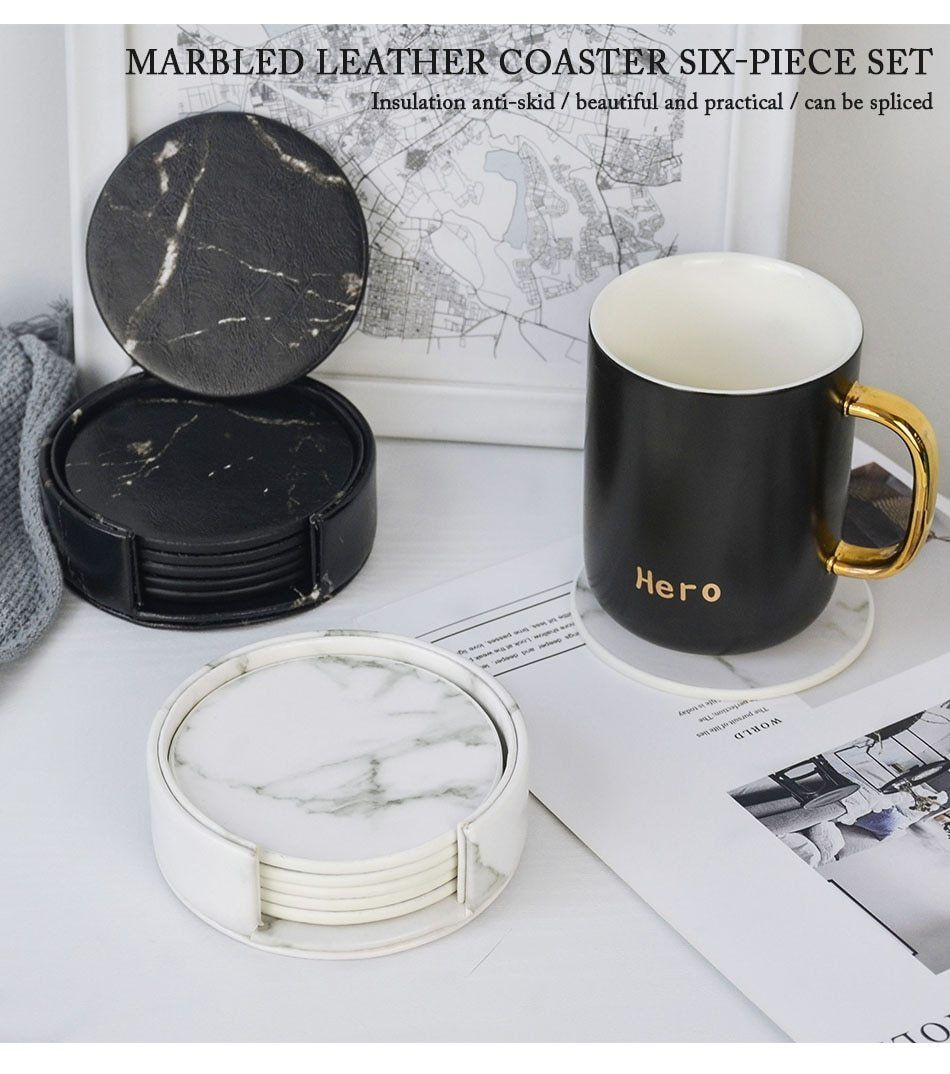 Luxury Marble Look Hardboard Coaster Set Will Be Perfect For Your Coffee Table Or Desk Specially Desig Dining Table Placemats Marble Coasters Unique Placemats