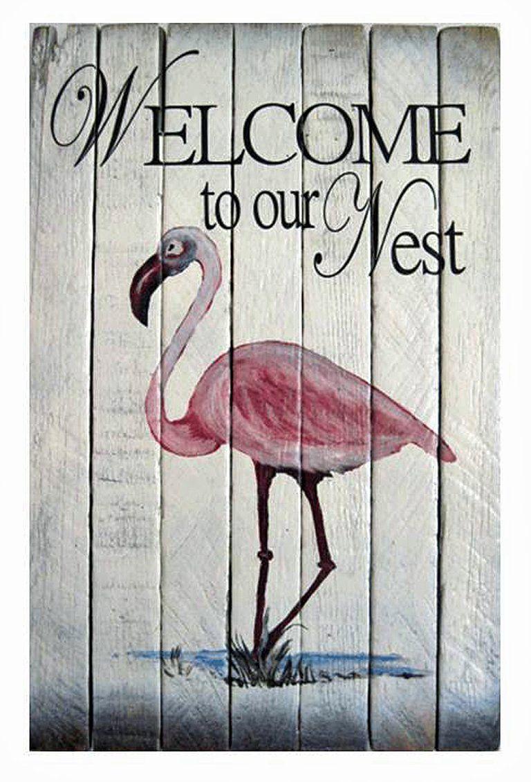 Coastal wall art pink flamingo welcome sign nautical wooden slat