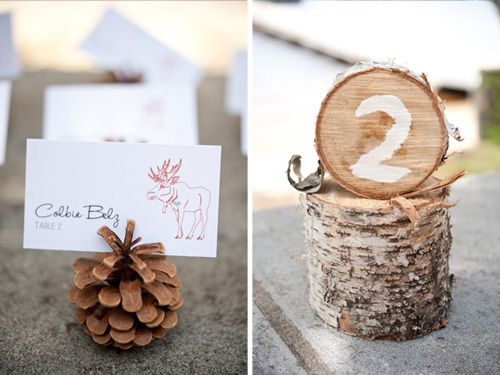 Pinecone placecard holders IF we went the rustic route.  But probably not..