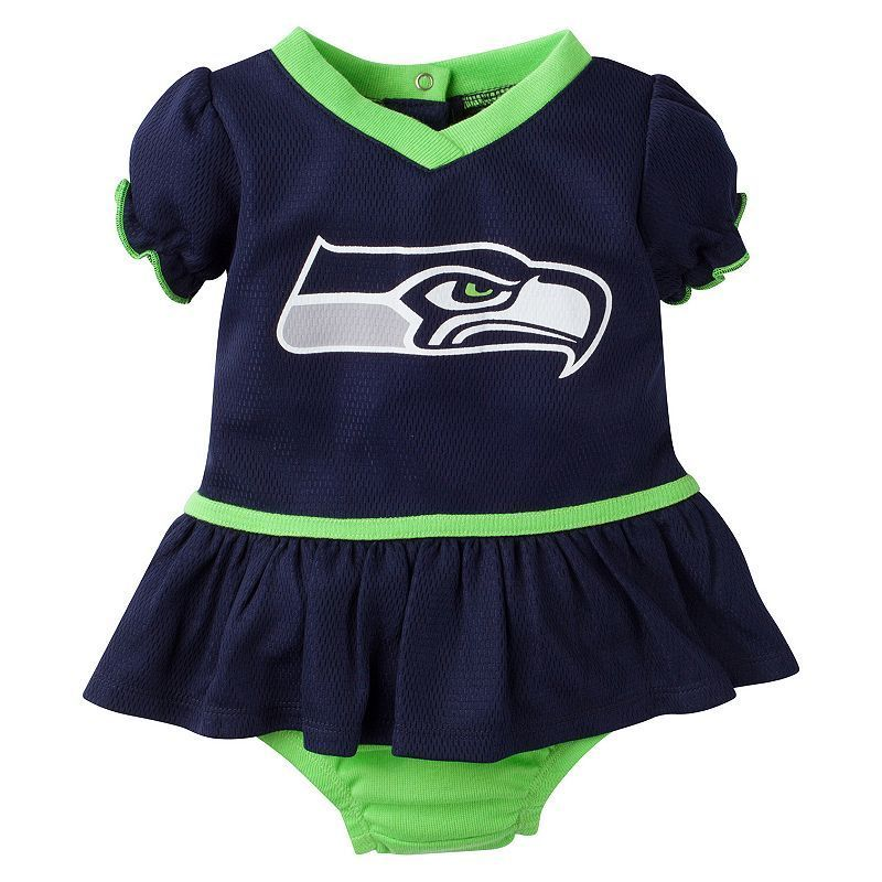 Baby Girls Seattle Seahawks Dazzle Dress & Diaper Cover Set, Infant Girl's, Size: