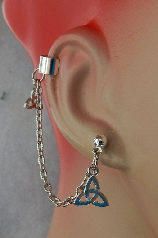 Silver Celtic Knot Charm Drop Dangle Ear Cuff W Chain Handmade Jewelry Stud