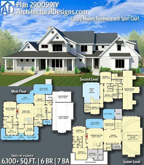 Plan 290099IY: Luxury Modern Farmhouse with Sport