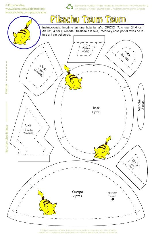 Moldes picachu | Sewing patterns | Pinterest | Sewing, Pattern and ...