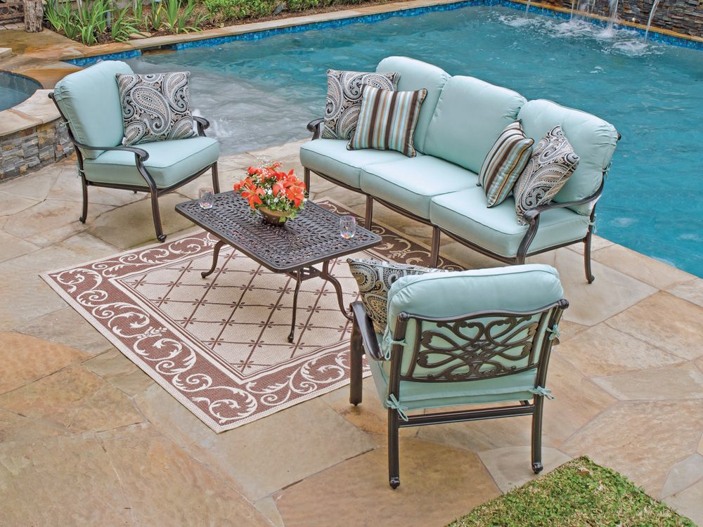 Light Blue Cushions W/ Cheetah Pillows? Still Too Much Blue?Orleans 4 Pc ·  Cast Aluminum Patio FurnitureDeck ...