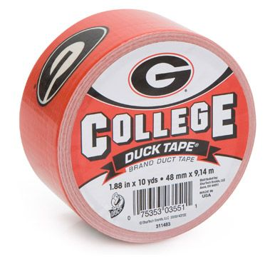 University of Georgia College Duck Tape® brand duct tape http://duckbrand.com/products/duck-tape/licensed/college-duck-tape/georgia-188-in-x-10-yd?utm_campaign=college-duck-tape-general&utm_medium=social&utm_source=pinterest.com&utm_content=college-duck-tape