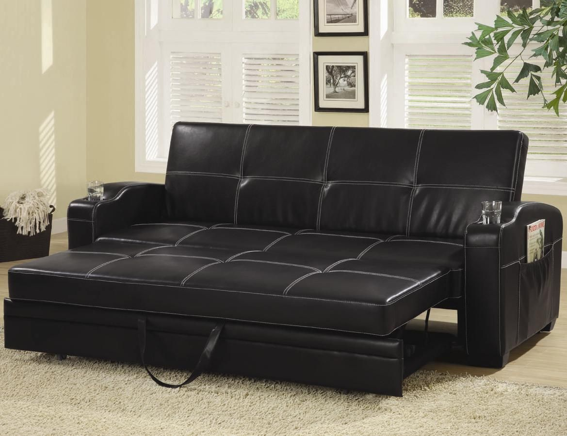 Sofa Beds And Futons Faux Leather Sofa Bed With Storage And Cup Holders By Coaster At Furniture Superstore Rochester Mn Black Leather Sofa Bed Leather Sofa Bed Contemporary Sofa Bed