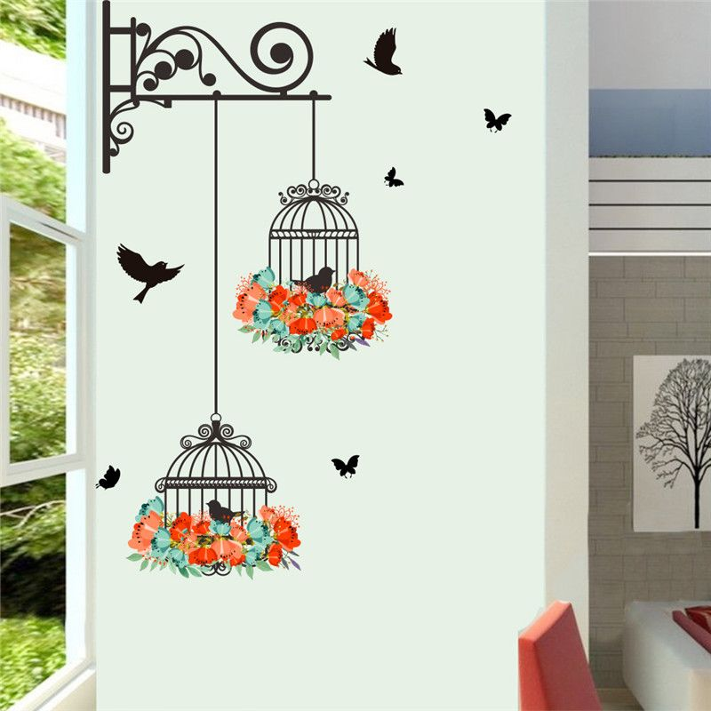 Colorful Flower birdcage wall sticker decals flying birds plants ...
