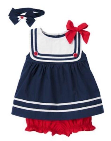 Gymboree Sailor Baby Sailor Dress With Headband 3 6 Mo 12 18 Mo 3 Pc Set New Vestidos Infantis Moda Infantil Feminina Moda Infantil