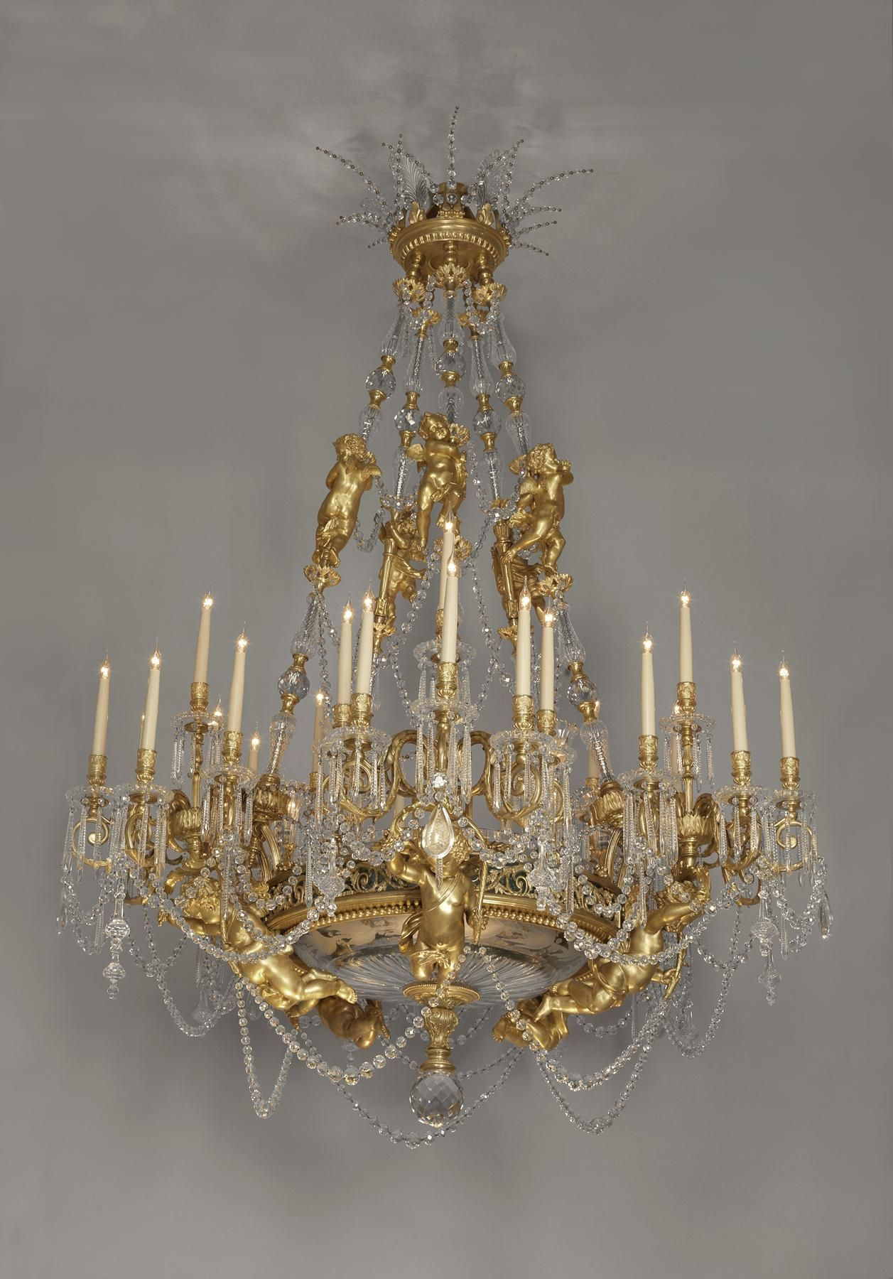 Baccarat a very important exhibition quality large figural gilt baccarat a very important exhibition quality large figural gilt bronze and cut glass chandelier french circa 1890 aloadofball Choice Image
