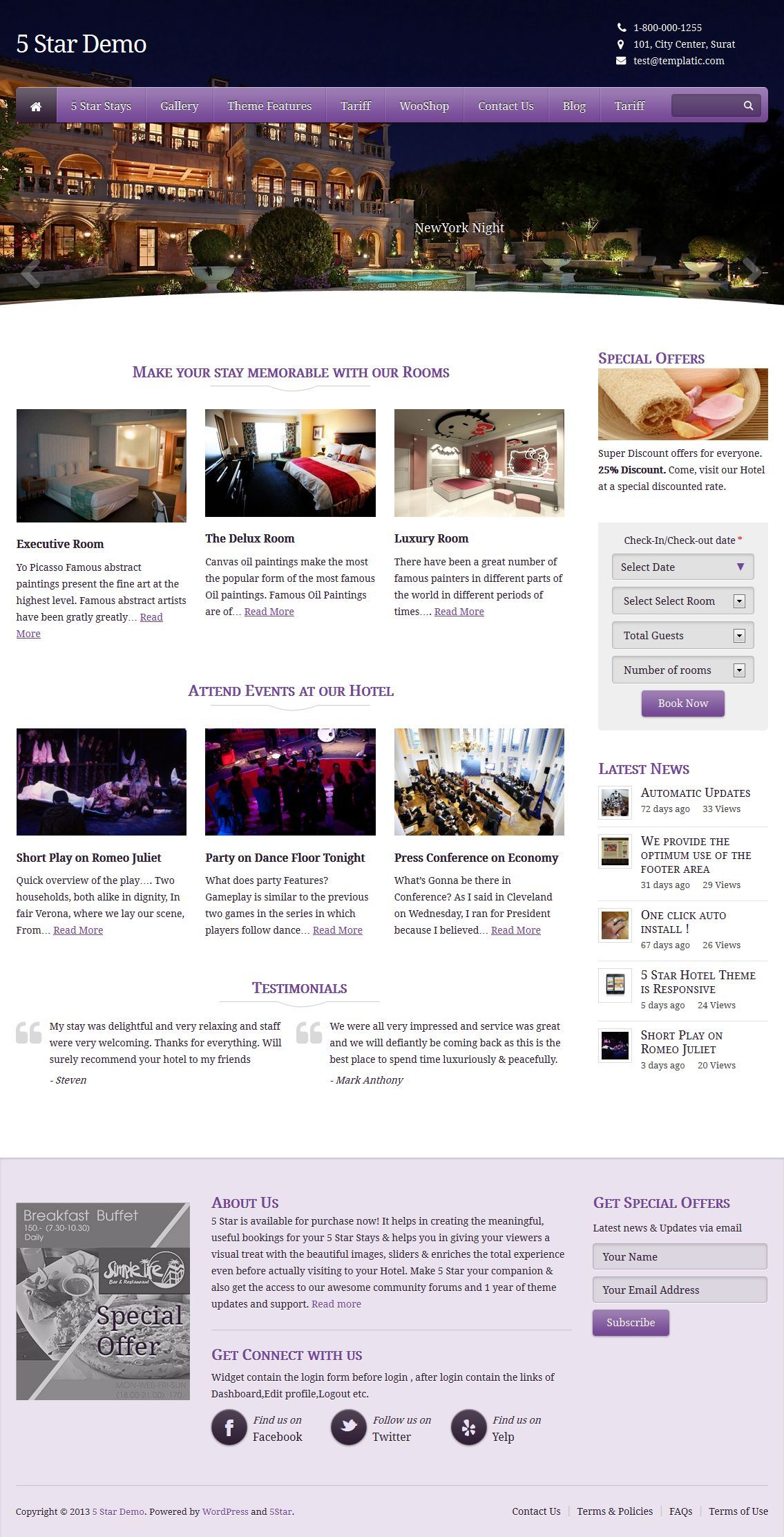 Templatic 5 Star is a responsive WordPress theme for hotels ...