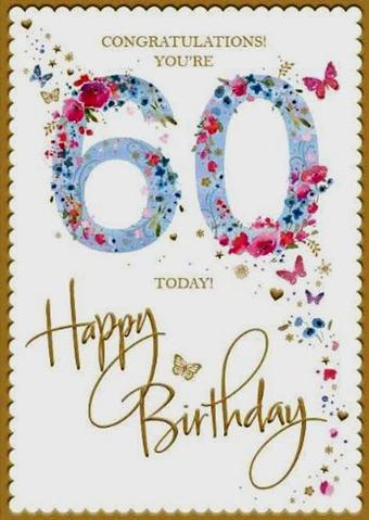60th Birthday Card Woman 60th Birthday Cards Happy Birthday Gifts 60th Birthday