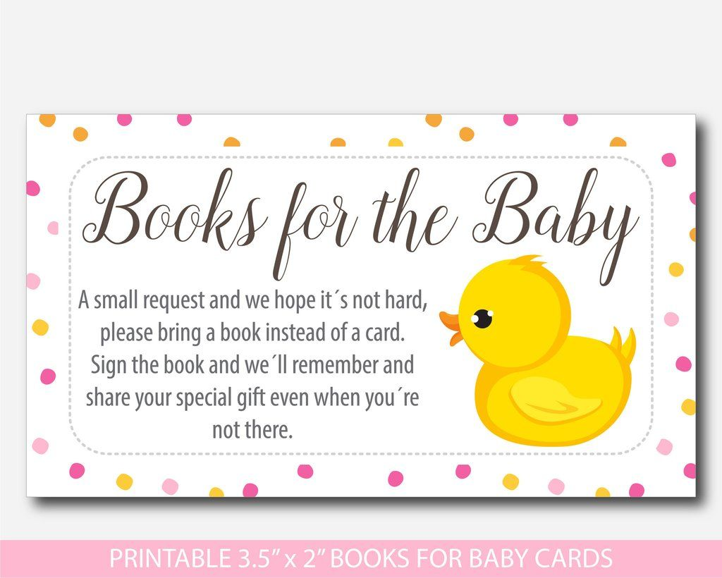 Rubber Ducky Bring A Book For The Baby Card Inserts Printable Duck Baby Shower Book Request