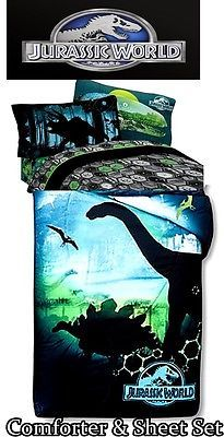 Details About Jurassic World Park 3 Pc Twin Bed Sheet Set