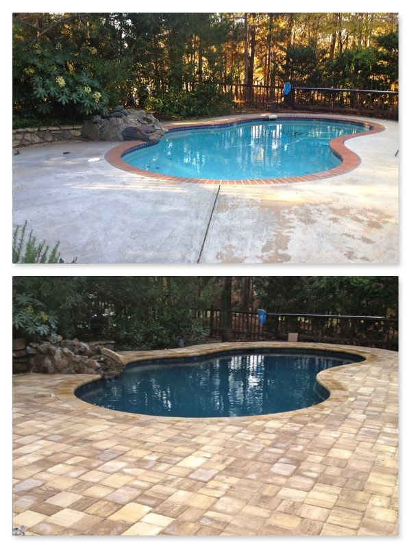 Pool renovation pebble tec tropical breeze travertine for Pool redesign