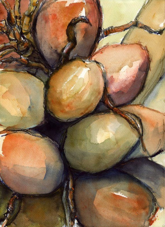 Art Painting Watercolor Tropical Coconuts Palm Tree Jamaica