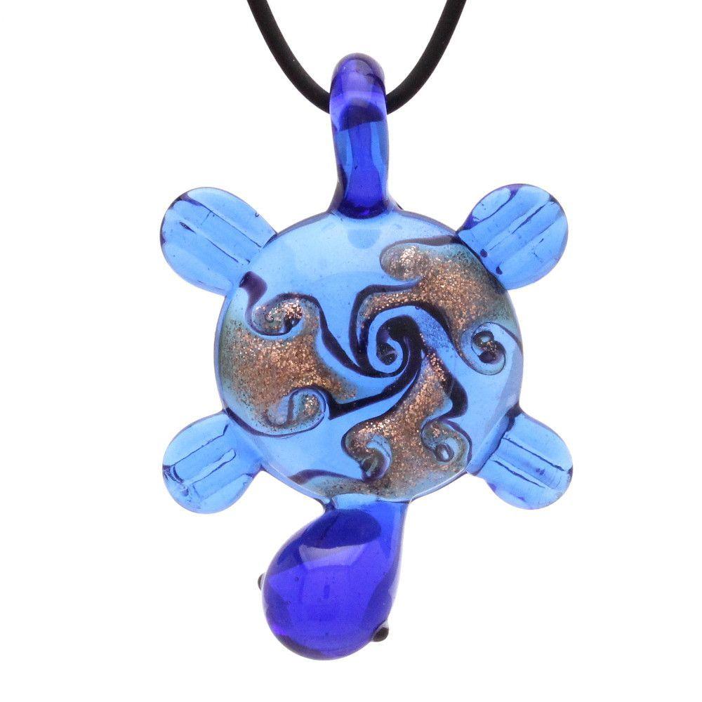 "Bleek2sheek Murano-inspired Glass Royal Blue ""Tribal Turtle"" Pendant Necklace"