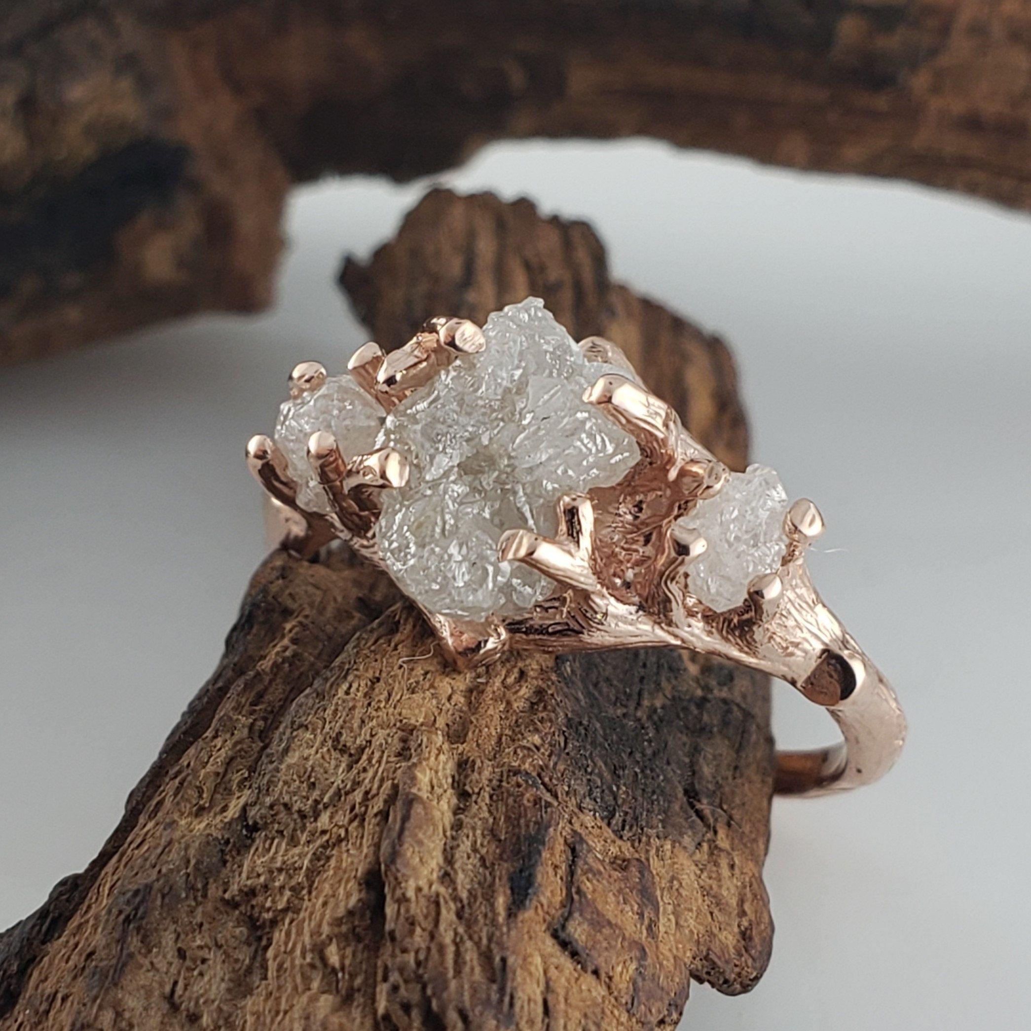 3 Rough Diamond Engagement Ring Twig Engagement Ring Diamond Wedding Ring Ro Rough Diamond Engagement Ring Unique Engagement Rings Dream Engagement Rings