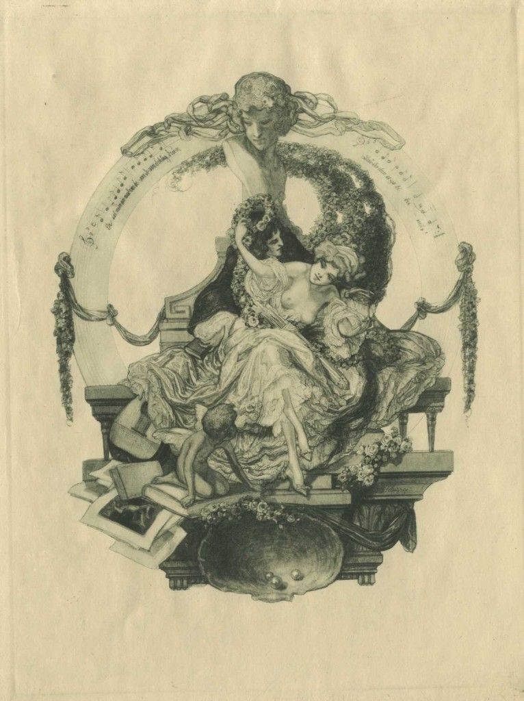 Franz von Bayros - Bookplate study, topless woman frolicks with man under a banner of musical notes