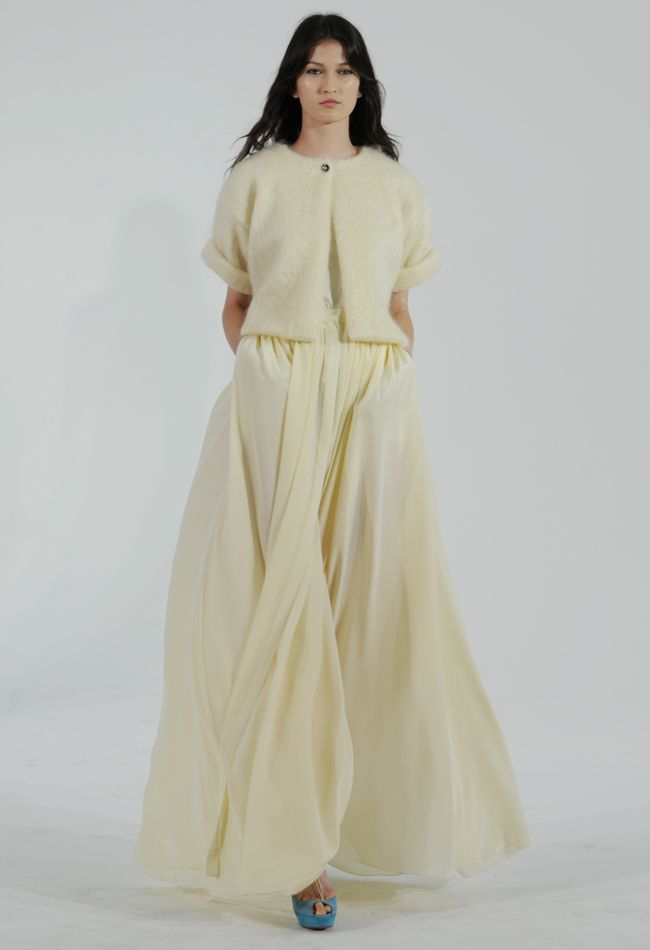 Yellow Pleated Wedding Dress with Mohair Cardigan | Houghton Bride Fall/Winter 2015 | Blog.theknot.com