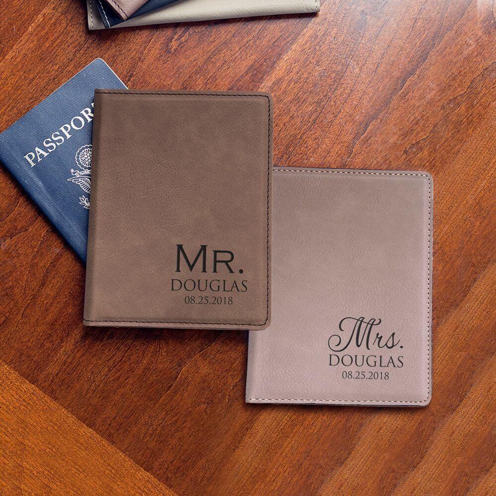 Honeymoon Accessory Mr and Mrs Tan Passport Covers Wedding Passport Holder