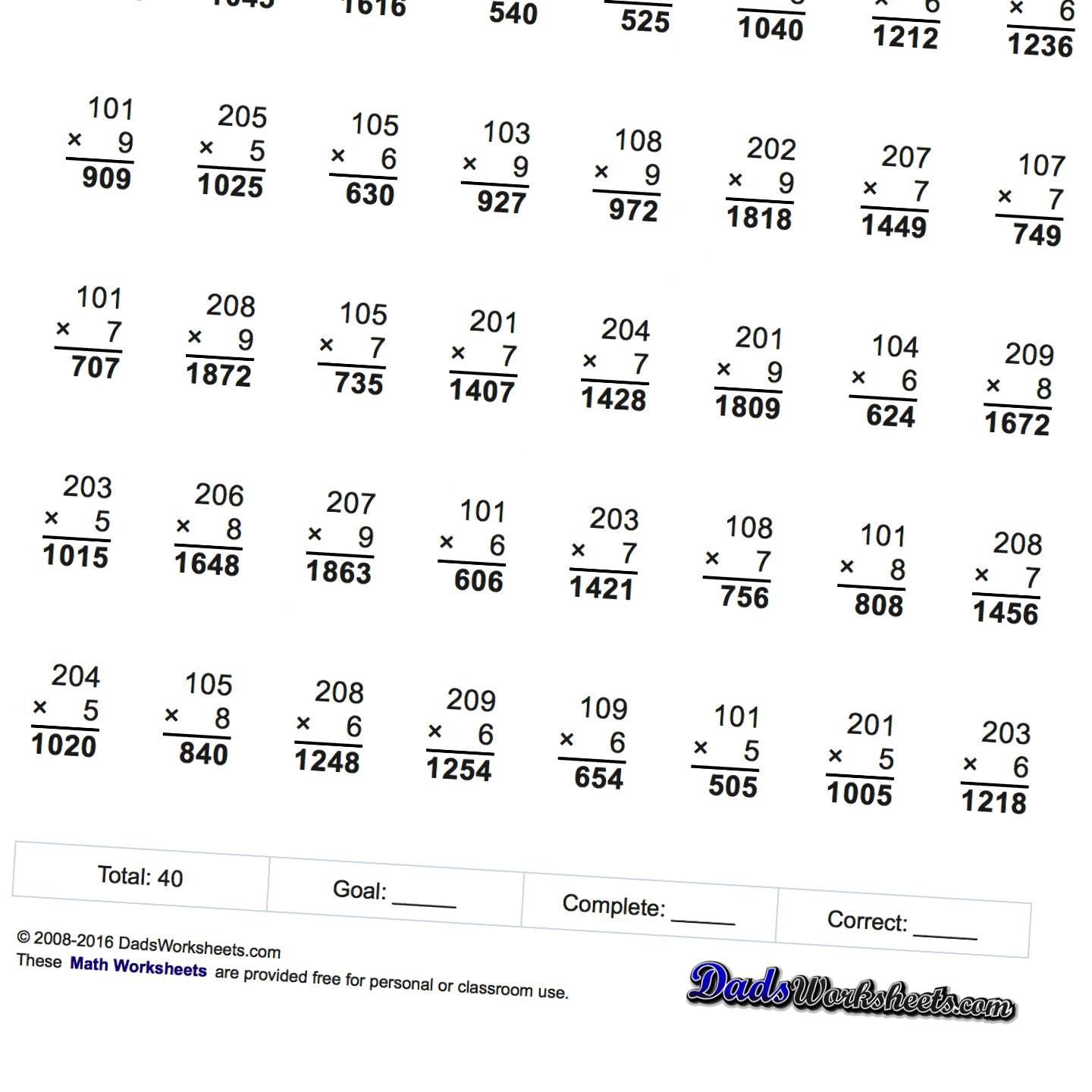 Multiplication Worksheets With Zeroes In The Tens Place