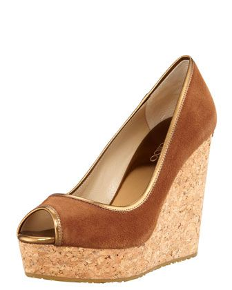 Jimmy Choo  Papina Suede Cork Wedge