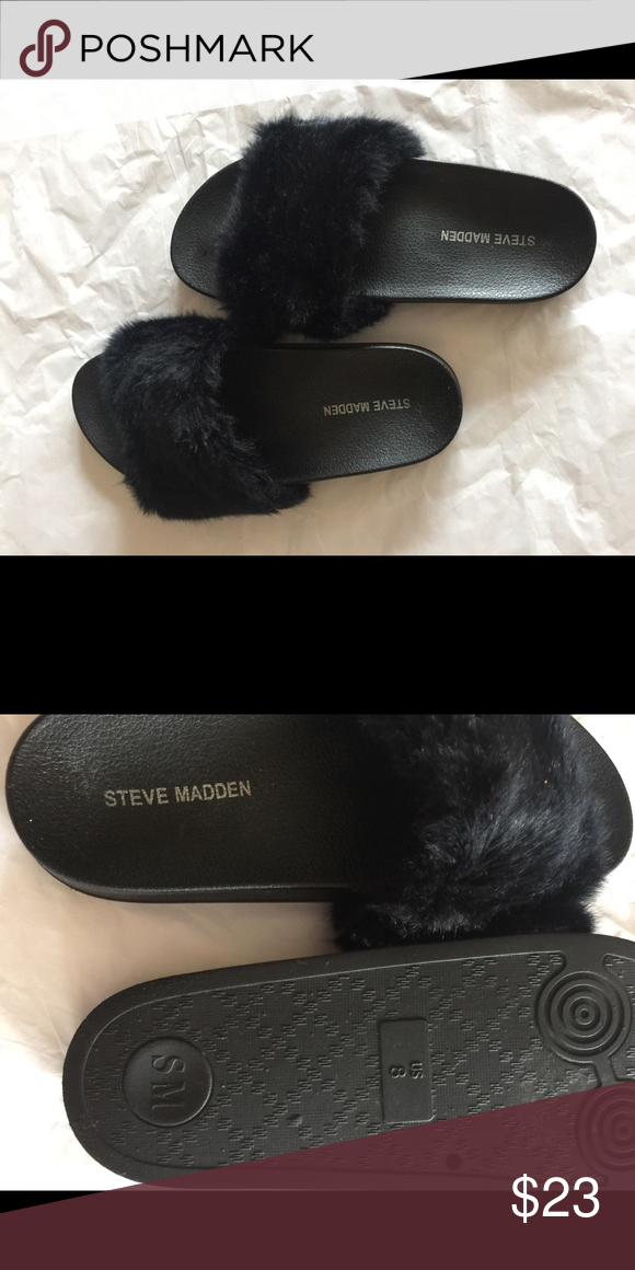 43d39fe9dde Steve Madden Fur Slides size 8 Steve Madden fur slides size 8. Used ...