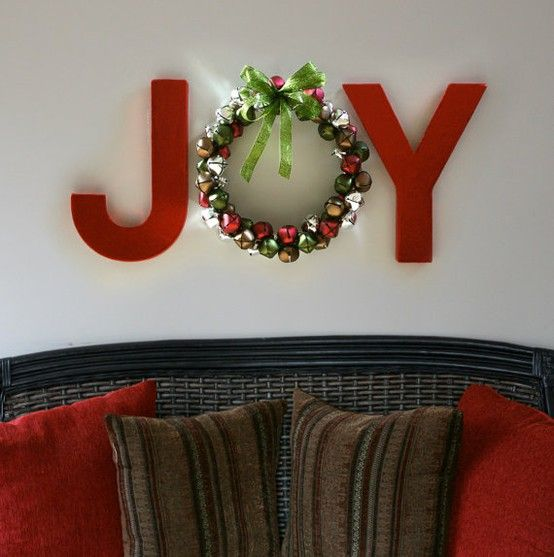 """JOY wall decor with wreath for the """"O"""". Love it!"""