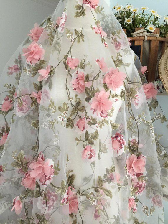 fabric lace floral oganza dusty organza blossom ivory printing leaf