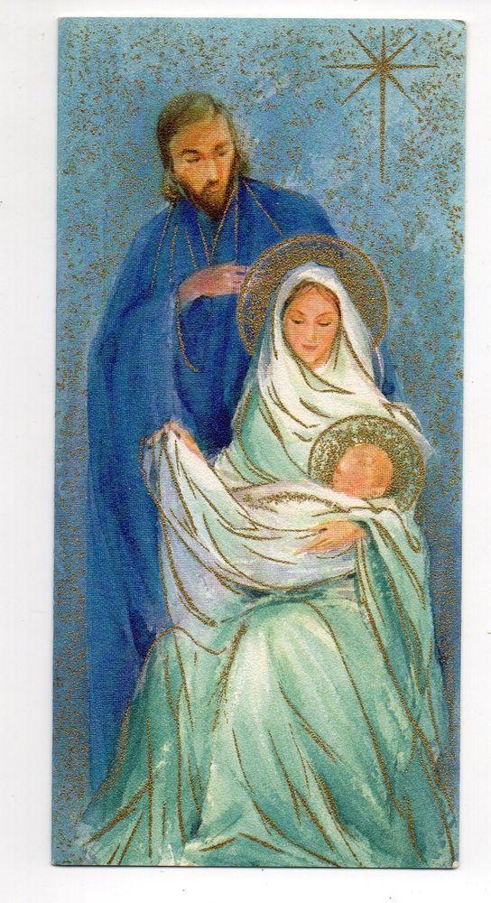 Vintage Hallmark Slim Jims Christmas Greeting Card Joseph Mary Baby ...