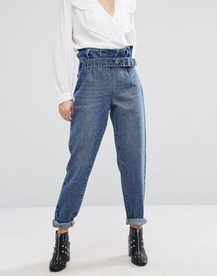 Lost Ink Mom Jeans With Paper Bag Waist  fb4bf806df9