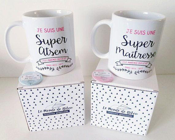 2 Mugs personnalisés, pour une super maîtresse (maître) et ATSEM   Idee cadeau maitresse ...