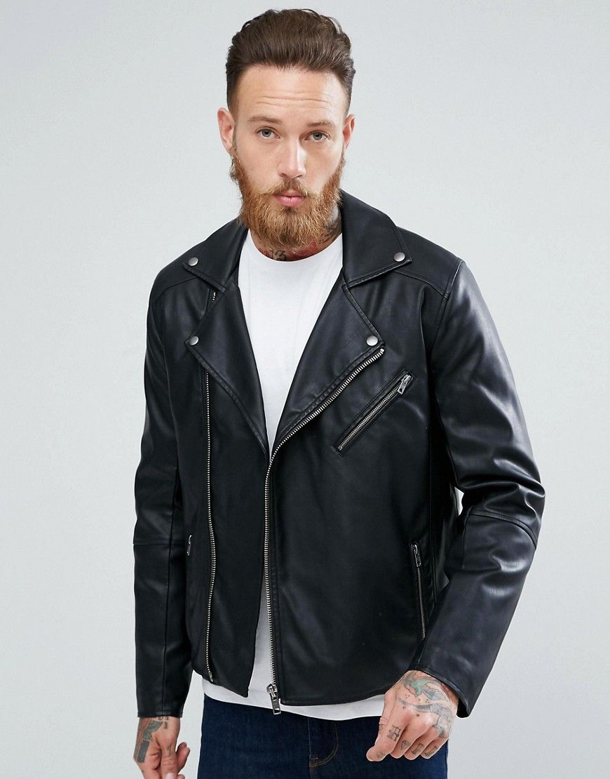 061b0886d DESIGN faux leather biker jacket in black | Products | Asos leather ...