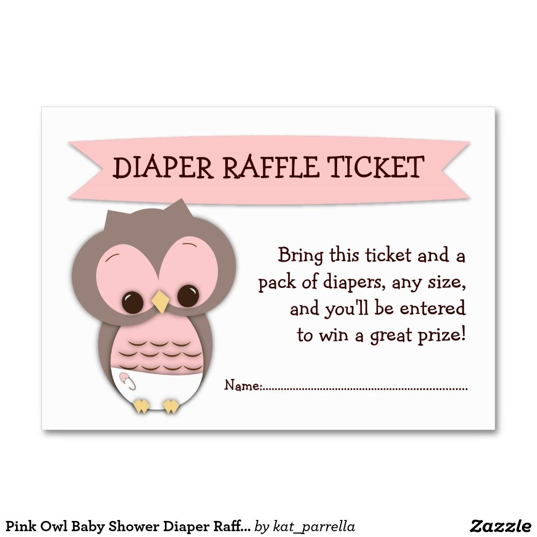 Pink Owl Baby Shower Diaper Raffle Ticket Insert Large Business ...
