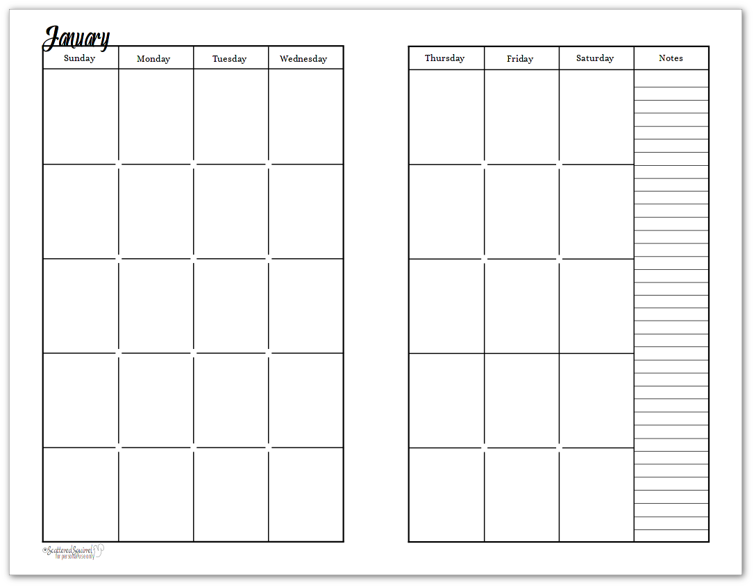 Undated Black And White Calendars Featuring Two Pages Per Month Monthly Calendar Printable Planner Calendar Printables Planner Printables Free